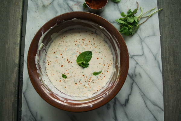 Cool cucumber and mint raita