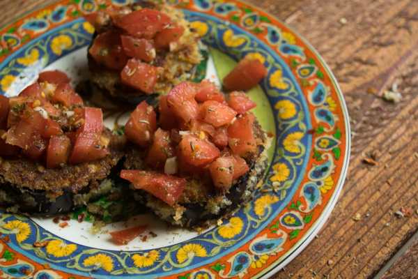 Crispy eggplant bruschetta