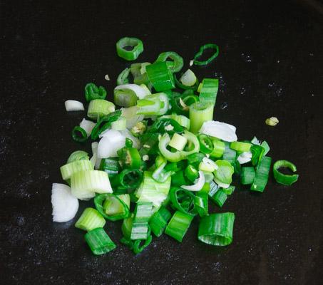 Soft scrambled eggs with green onion & chili