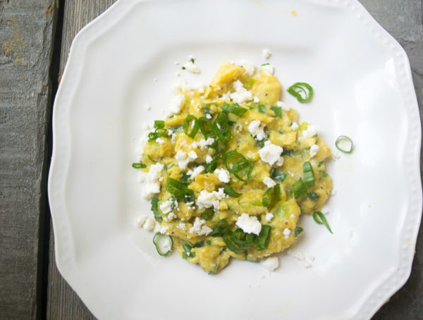 Soft scrambled eggs with green onion and chili