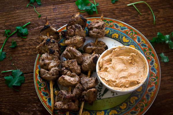 Za'atar chicken skewers with spicy tahini sauce