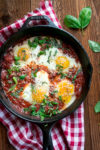 Eggs poached in fiery tomato sauce (eggs in purgatory)
