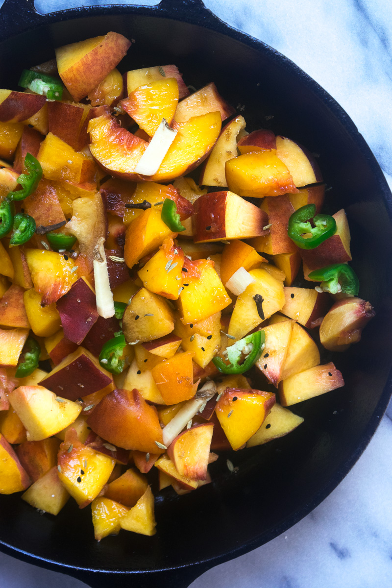 End of summer peach chutney-- a perfect combination of sweet, tangy, spicy, and savory. Great on toast, serve along with your cheese board, or slather on everything. |www.cookeatlaugh.com