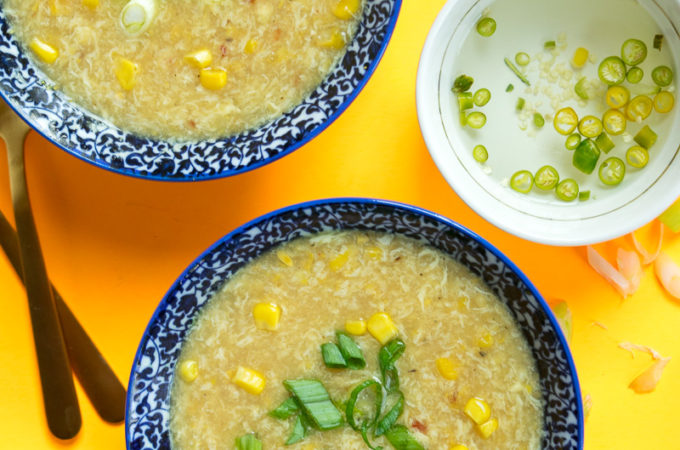Indo Chinese sweet corn soup with chili vinegar
