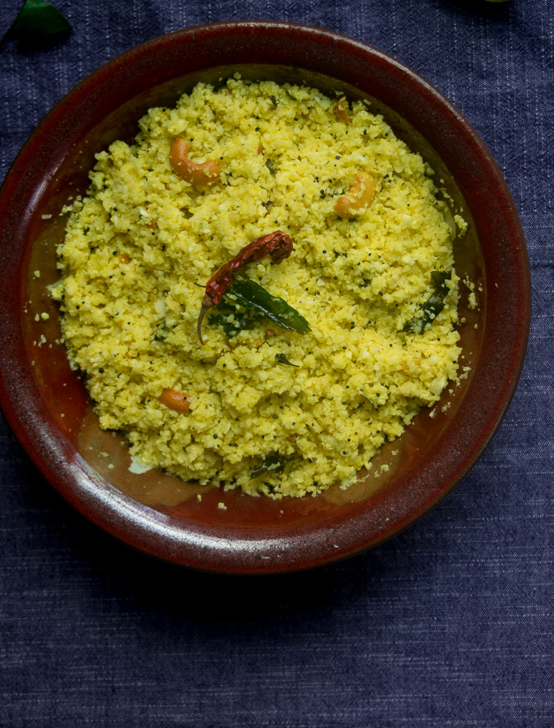 Quick 10-minute lemon cauliflower rice--Riced cauliflower tossed with aromatic Indian spices, so good you won't miss the rice!  www.cookeatlaugh.com