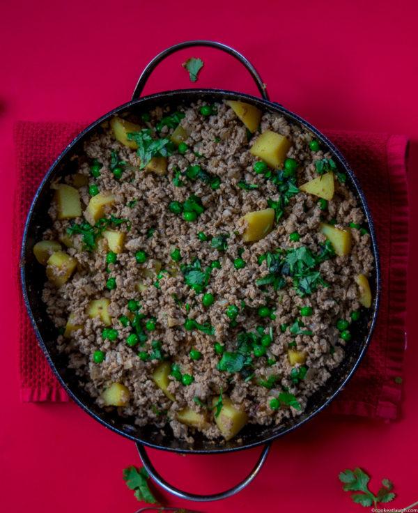 Aloo keema (Spiced ground turkey with potatoes & peas)
