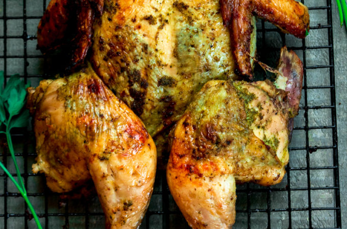 Green masala spiced roast chicken