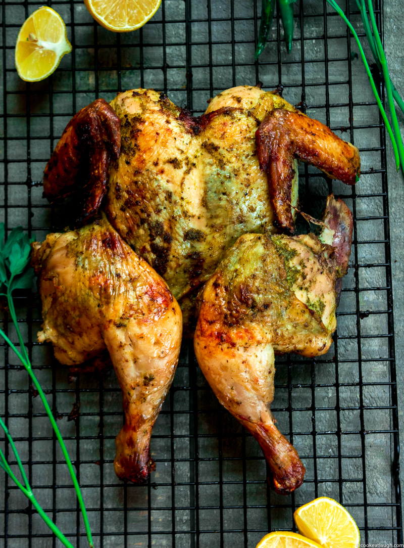 Green masala spiced roast chicken--this roast chicken is lemony, herby, spicy, crispy, and perfectly juicy.|www.cookeatlaugh.com--6