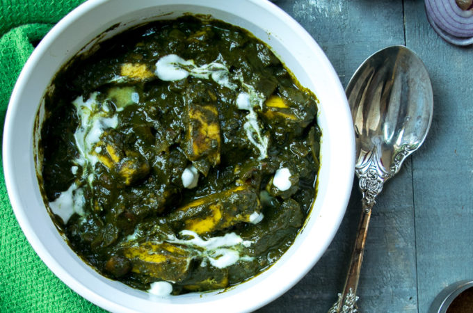 Palak paneer (spinach with Indian cheese)