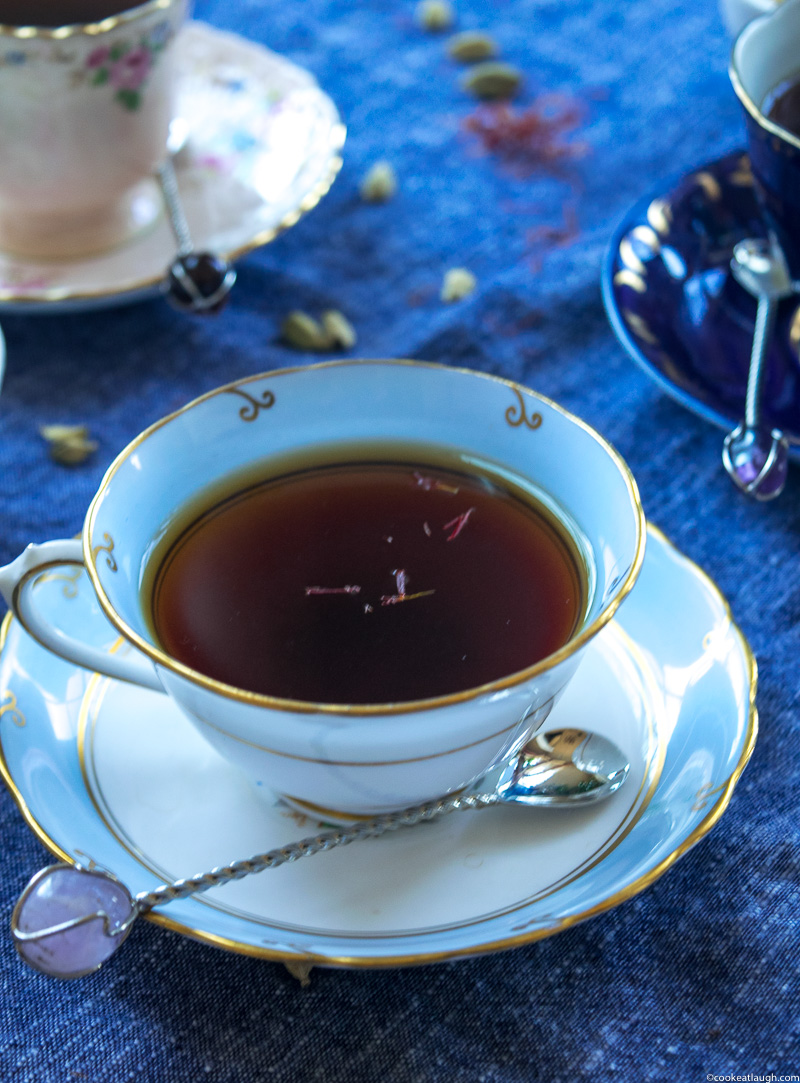 Saffron and cardamom black tea—strong black tea steeped with crushed cardamom and saffron! |www.cookeatlaugh.com--21-1