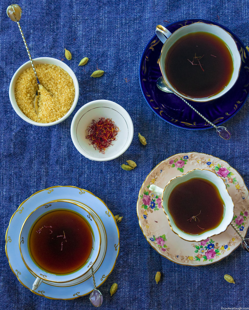 Saffron and cardamom black tea—strong black tea steeped with crushed cardamom and saffron! |www.cookeatlaugh.com--23-1