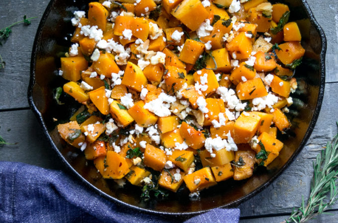 Sautéed Butternut squash with kale and feta