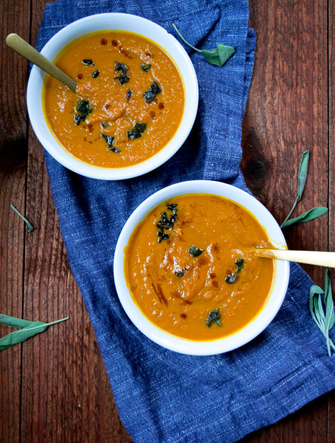 20-minute simple pumpkin sage soup--quick pumpkin sage soup makes for a delicious first course for your thanksgivng dinner or any meal.|www.cookeatlaugh.com-8