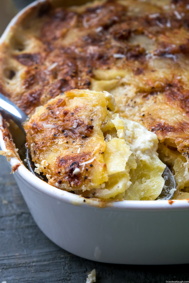 Simple and Easy potato au gratin— is a French style potato dish that is rich, creamy, and delicious. A perfect make ahead side for the holidays. |www.cookeatlaugh.com--8