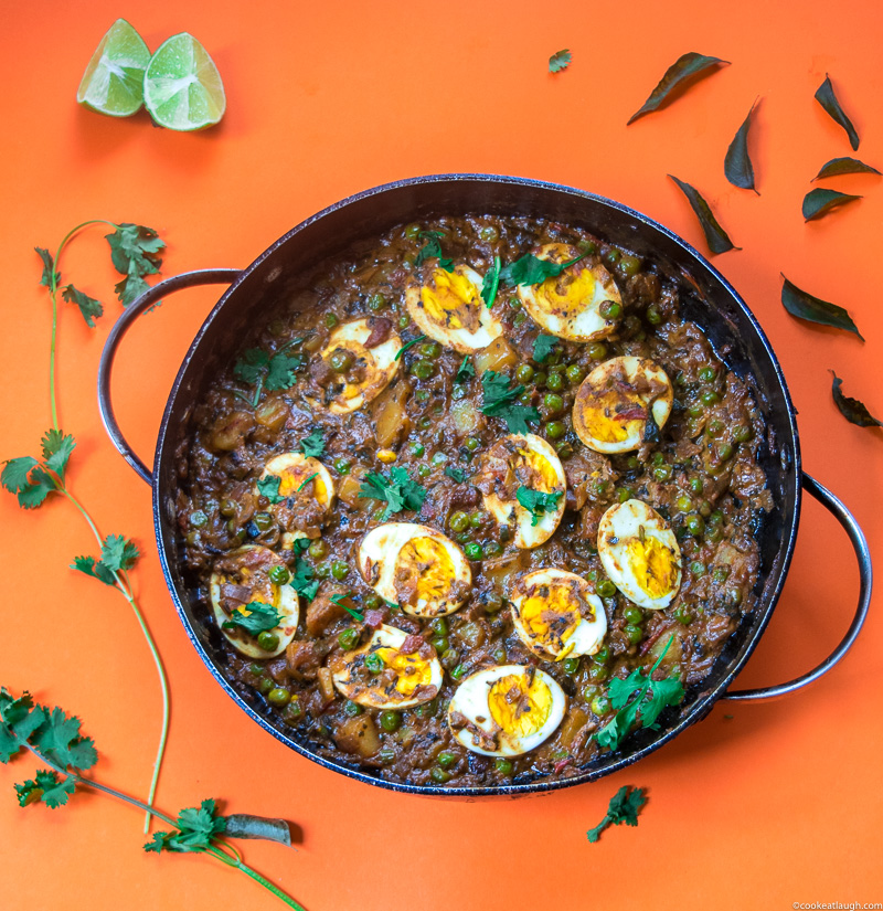 Goan coconut egg curry! Is a dish from coastal Indian state Goa. Made with coconut milk, curry leaves, hard boiled eggs, potato, peas, lime juice and spices. A perfect hearty winter meal.-9