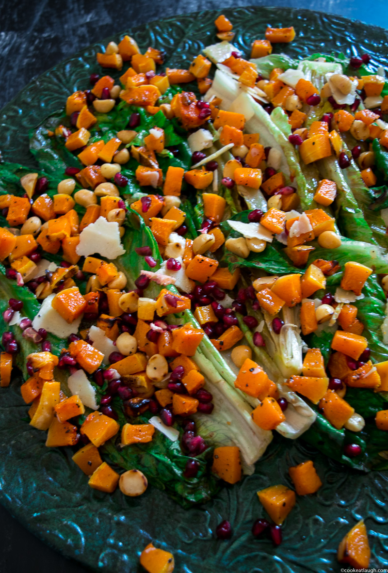 Grilled romaine lettuce salad with butternut squash salsa! not an ordinary boring salad, it is crunchy, smoky, tad sweet, and salty. Perfect for the holidays! www.cookeatlaugh.com-3