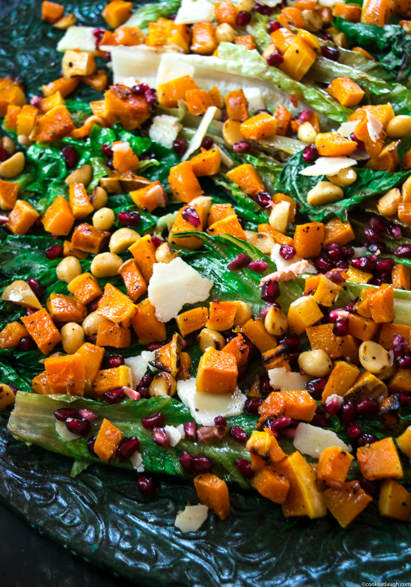 Grilled romaine lettuce salad with butternut squash salsa! not an ordinary boring salad, it is crunchy, smoky, tad sweet, and salty. Perfect for the holidays! www.cookeatlaugh.com-6