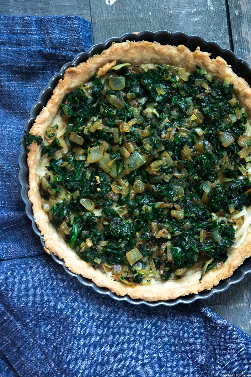 Spinach and onion Quiche (No cream added!)-4