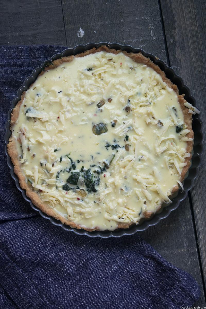 Spinach and onion Quiche (No cream added!)-5