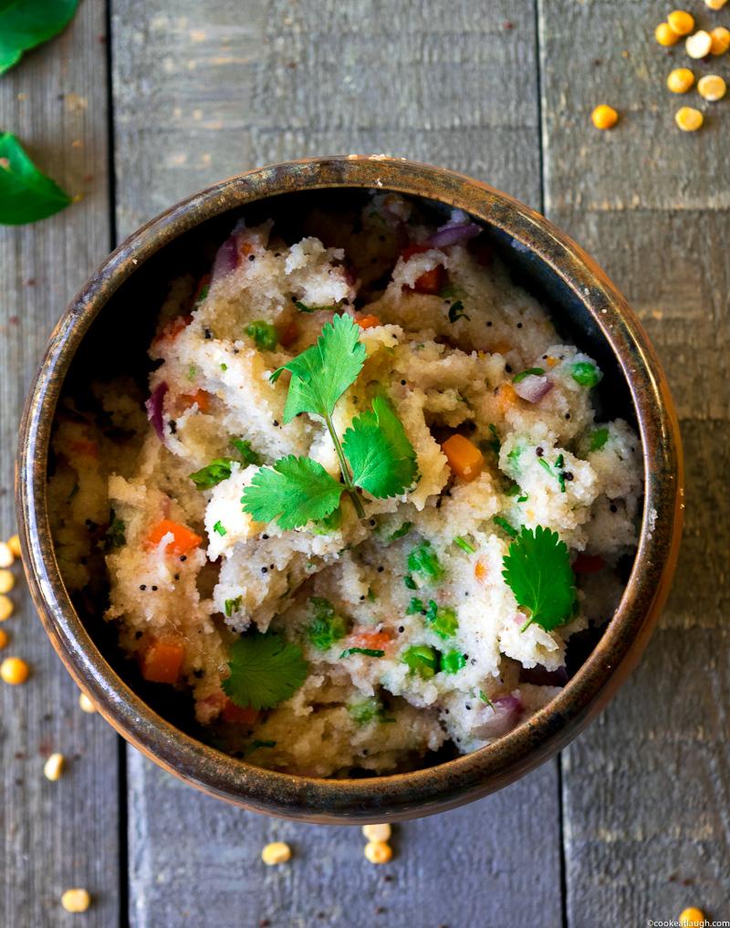 Upma (savory semolina porridge)-a delicious, nutritious, vegetarian, and vegan breakfast that can be made in 20 minutes.| www.cookeatlaugh.com-6