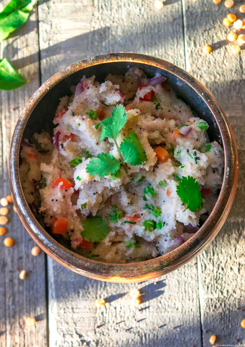 Upma (savory semolina porridge)-a delicious, nutritious, vegetarian, and vegan breakfast that can be made in 20 minutes.| www.cookeatlaugh.com-8