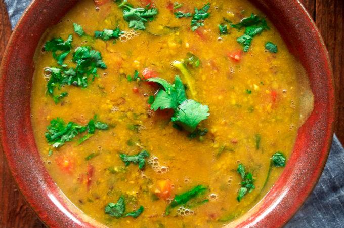Sindhi Khatti Dal (sour lentil stew)