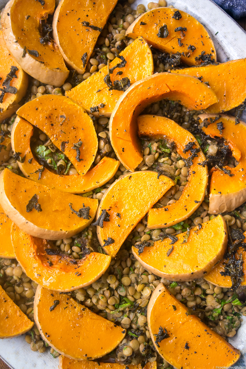 Roasted Butternut Squash with lentils, dates and fresh herbs-3