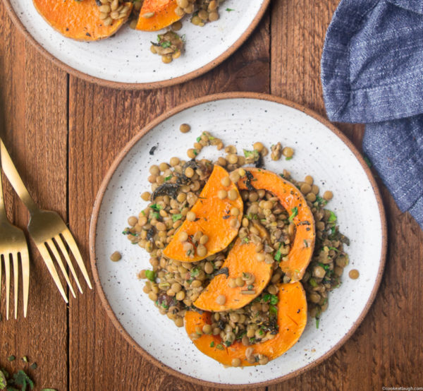 Roasted Butternut Squash with lentils, dates and fresh herbs