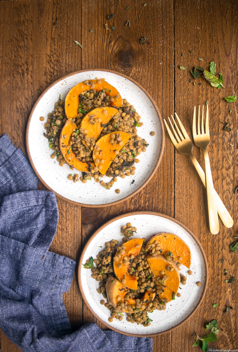 Roasted Butternut Squash with lentils, dates and fresh herbs-32