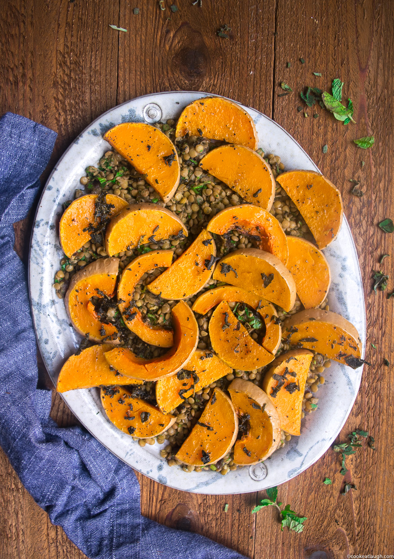 Roasted Butternut Squash with lentils, dates and fresh herbs-4