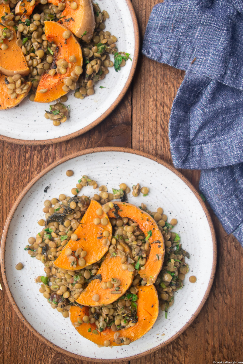 Roasted Butternut Squash with lentils, dates and fresh herbs-8