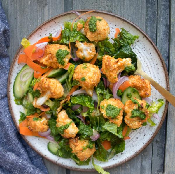 Tandoori Cauliflower Salad with pickled onions and cilantro dressing