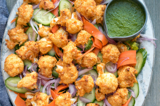 Tandoori Cauliflower Salad with pickled onion and cilantro dressing